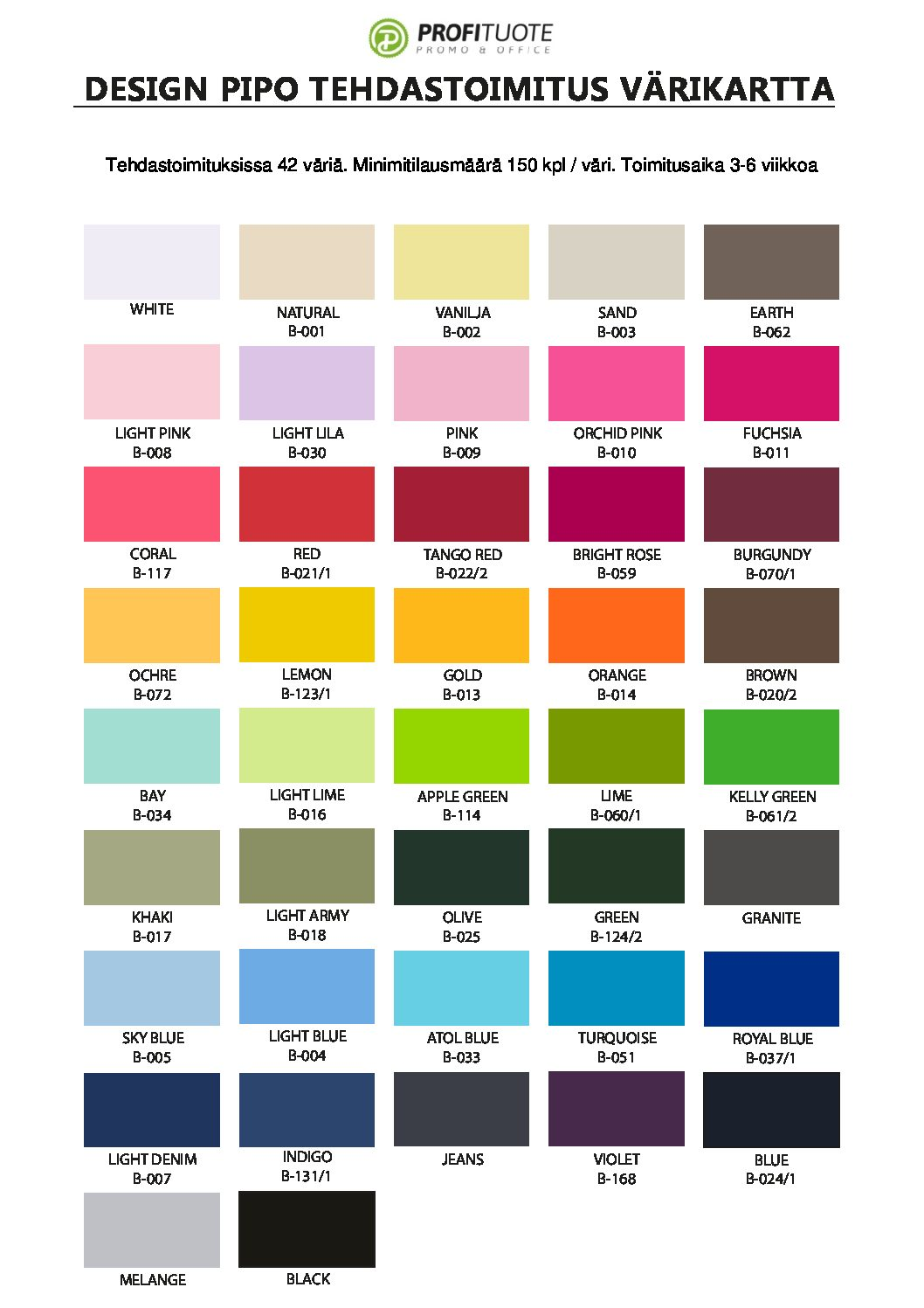 design pipo tehdastoimitus värikarta